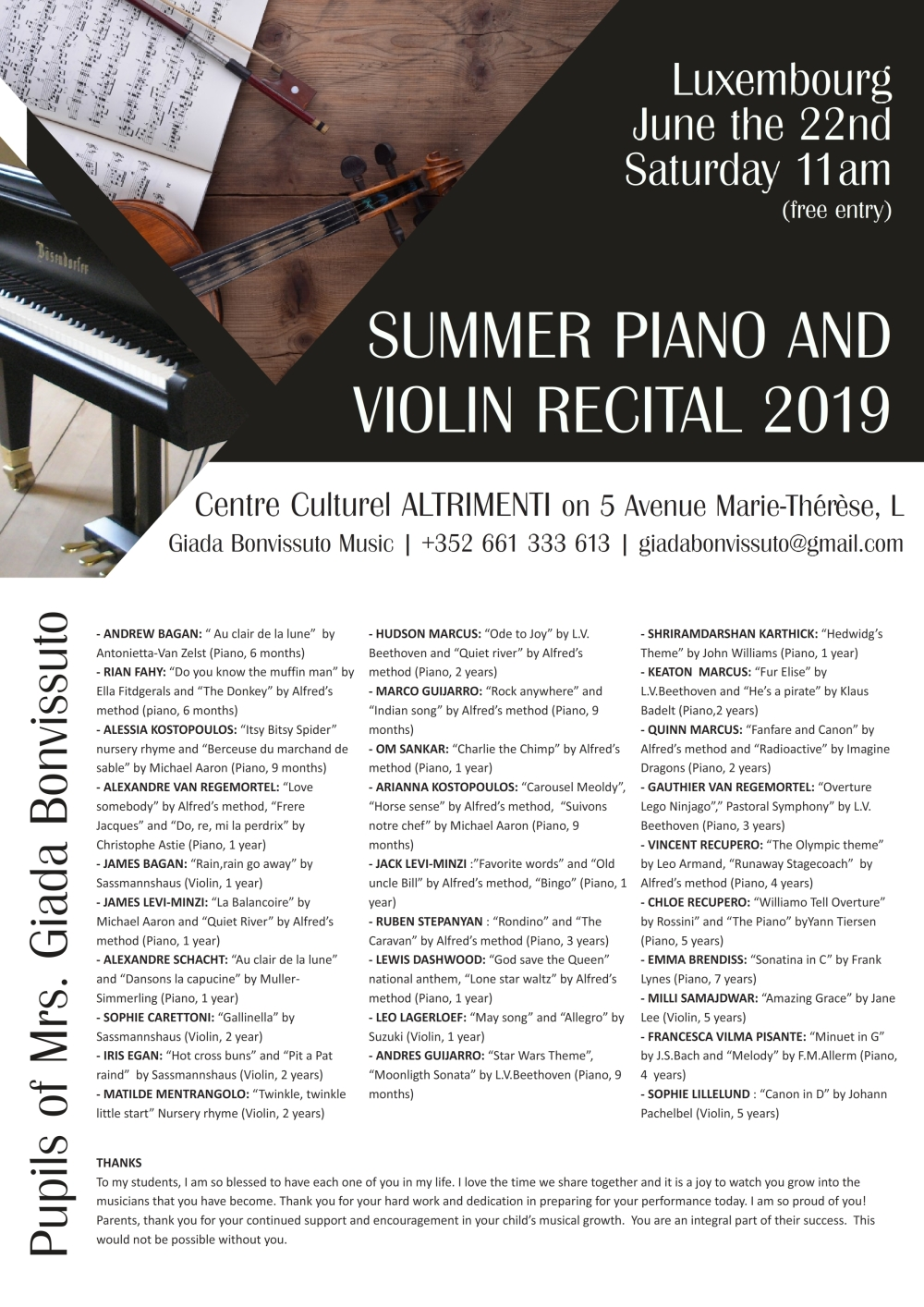 SUMMER PIANO AND VIOLIN RECITAL 2019